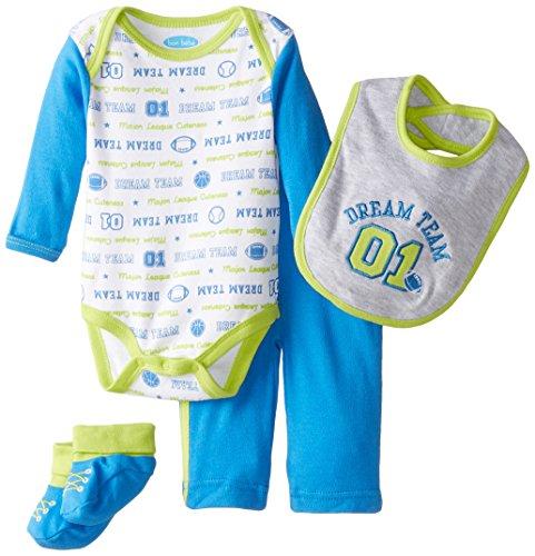 BON BEBE Baby-Boys Newborn Dream Team 4 Piece Set with Booties Bib Bodysuit, Multi, 0-3 Months