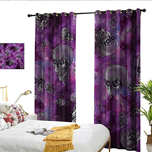 Wen Zhouqw Skull Horror Movie Thirller Themed Flying Skull Heads Halloween in Outer Space Image Black and Purple Shading -