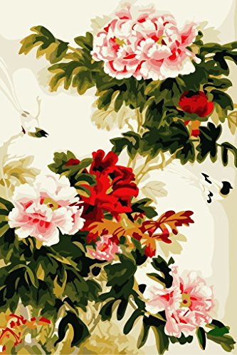 (YEESAM ART DIY Paint by Numbers for Adults Beginner Kids, Chinese Peony Flowers 16x20 inch Linen Canvas Acrylic Stress Less Number Painting Gifts (Flowers, Without Frame))