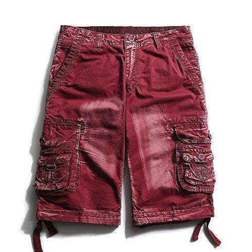(OCHENTA Men's Cotton Casual Multi Pockets Camo Cargo Shorts #3230 Wine red camo 32)