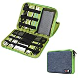 BUBM Universal Double Layer Cables Case for USB Cable Power Cord Battery Charger Case Storage Mobile Disk Bag Travel Organiser Padded Travel Electronic Case Packing Cubes for iPad Mini (Blue & Green)
