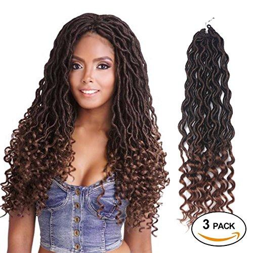 African Hair Braiding Goddess Faux Locs Crochet Hair Braids Wavy with Curly Ends African American Hair Extensions Dark Brown Soft Dread Dreadlocks (3Packs/Lot, 1B/30#)