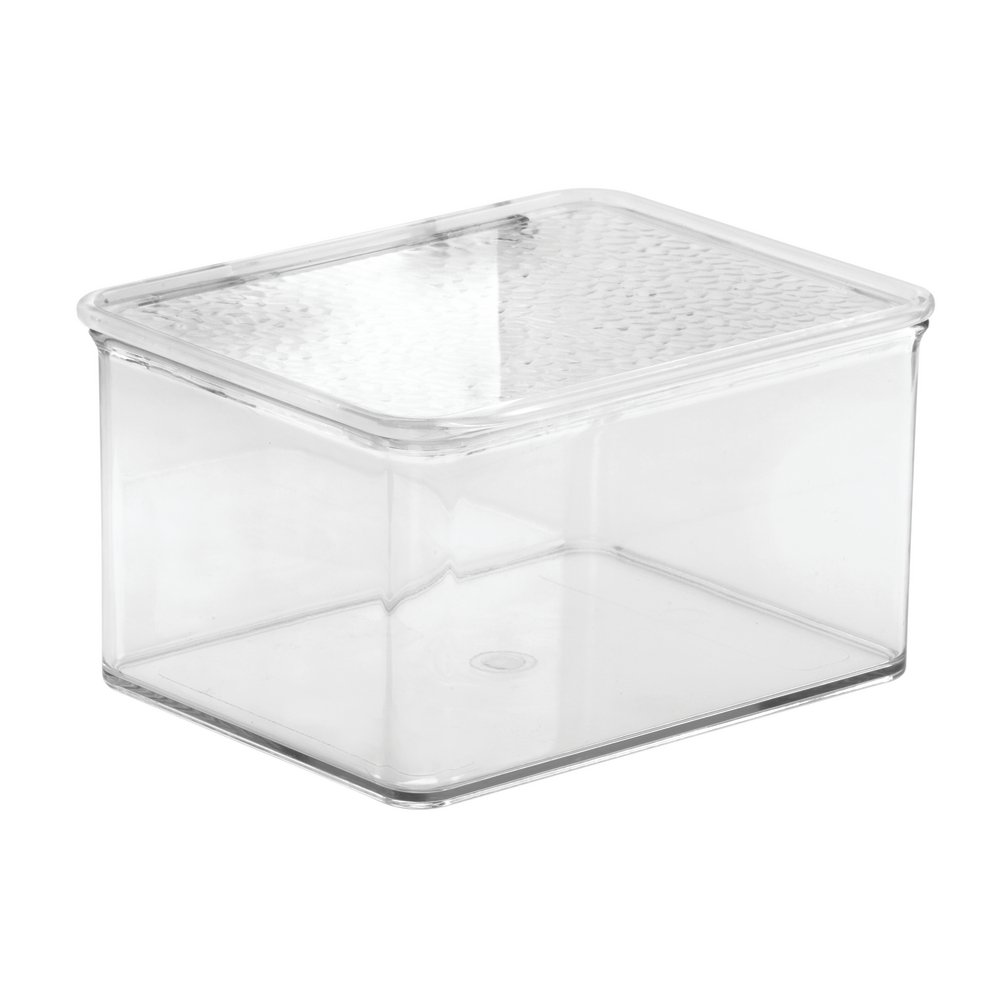 InterDesign Rain Stackable Cosmetic Organizer Box To Hold Makeup, Beauty Products - Small, Clear by InterDesign