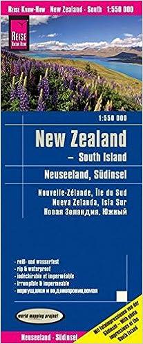 Travel Map New Zealand.New Zealand S South Island Travel Map 1 550 000 English Spanish