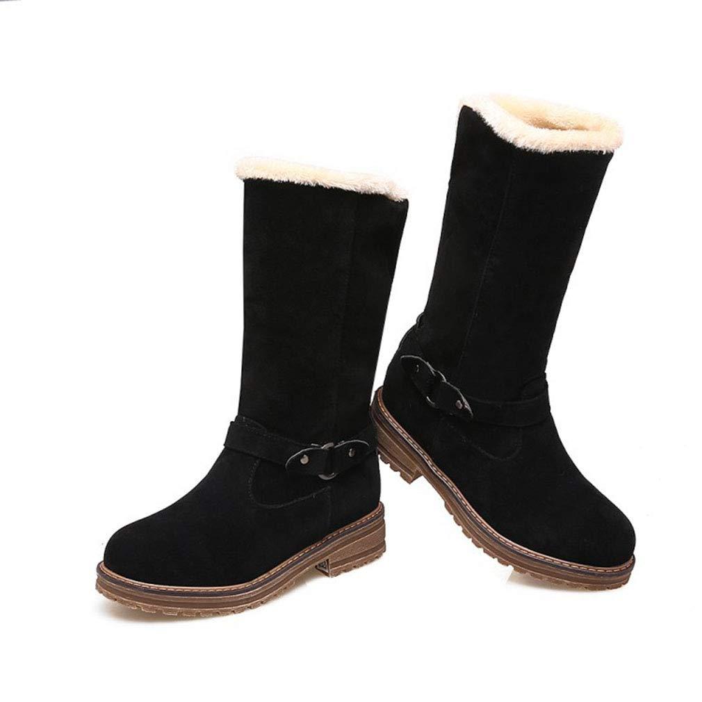 Hy Damen Stiefel Winter Winter Stiefel Wildleder Schneeschuhe/Wohnung große Größe Booties/Damen Plus Cashmere warme Winterstiefel (Farbe : Schwarz, Größe : 40) - 02b309