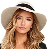 FURTALK Womens Beach Sun Straw Hat UV UPF50 Travel Foldable Brim Summer UV Hat (Medium Size (21.8'-22.4'), Pure Beige