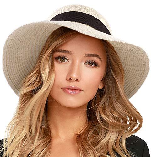 - FURTALK Womens Beach Sun Straw Hat UV UPF50 Travel Foldable Brim Summer UV Hat(Large Size (22.4