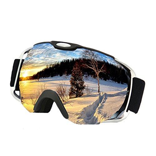 OTG Ski Goggles ,iTavah Helmet Fit Over Glasses Anti-slip Snowmobile Skate Skiing Goggles for Men Women & Younth Snow Outdoor Sports with 100% UV Protection Anti-Fog Spherical Lens ( Matte Black )