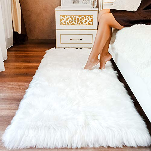 MRDANVAL Premium Faux Sheepskin Fur Rug White - 2.3x5 feet - Best Extra Long Shag Pile Carpet for Bedroom Floor Sofa - Soft Fur Area Rug