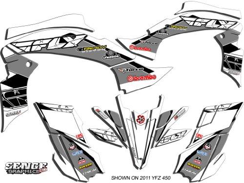 Senge Graphics 2003-2008 Yamaha YFZ 450 (Steel Frame), 13 Fly Racing White Graphics Kit