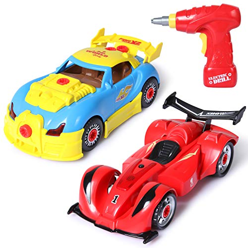 SGILE Take Apart Car Toy Set, 4 in 1 Construction and Engineering Toy Kit with Tools Drill Real Lights and Sounds, 52 Pieces Build Your Own Car for Boys Girls Kids ()
