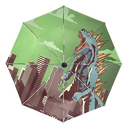 Jereee Godzilla Dinosaur Light Green Compact Travel Umbrella, Outdoor Rain Sun Car Folding Reversible Umbrellas for Windproof, Reinforced Canopy, UV Protection, Ergonomic Handle, Auto -