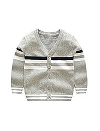 CheerLin Baby Boys Cardigan V Collar Solid Knit Kids Sweater Outwear