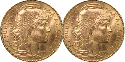- FR 1899-1914 Lot of 2 French Rooster Gold Coin Set AU