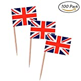 united kingdom decorations - Topoox 100 Pack British Flag Party Cupcake Picks Toothpick Flag Dinner Flags Cake Toppers Decorations