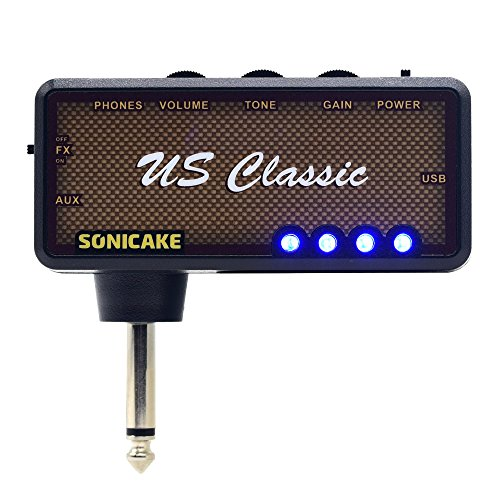 SONICAKE Amphonix US Classic Blues Overdrive USB Chargable Headphone Pocket Guitar Amp w/h Built-in Effects and AUX input, USB Chargable Cable and 3.5mm Male to Dual 3.5mm Female Headset Spliter Inclu by SONICAKE