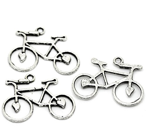 Housweety Silver Bicycle Pendants 31mmx23mm