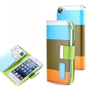 LETOiNG-5SPJ30E Wallet Leather Carrying Case Cover With Credit ID Card Slots/ Money Pockets For iPhone 5/5S-Blue+Brown+Orange