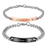 NEHZUS His Only Her One Stainless Steel His and Hers Couple Bracelet(2pcs)