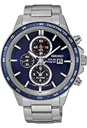 Seiko Solar Chronograph SSC431 Blue Dial Stainless Steel Men's Watch