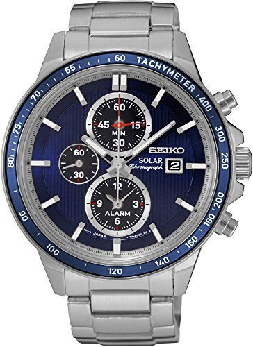 Seiko Solar Chronograph SSC431 Blue Dial Stainless Steel Men's (Solar Watch Blue Dial)