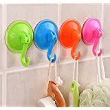 TTKB.HH 4 Piece Multicolor 180 Degree Rotation Adhesive Suction Silicone Cup Hooks, Secure Hold Accessory for Windows, Shower, Bathroom & Kitchen