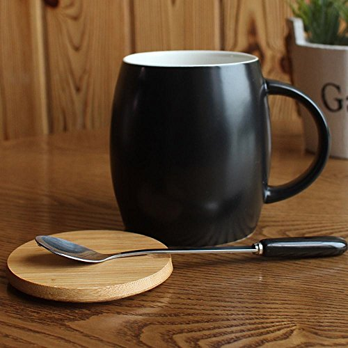 WU-Mug Simple Ceramic Coffee cup mug with cover scoop water with solid-colored Cup Home Office Drinking Cups, Black - Scoop Mug