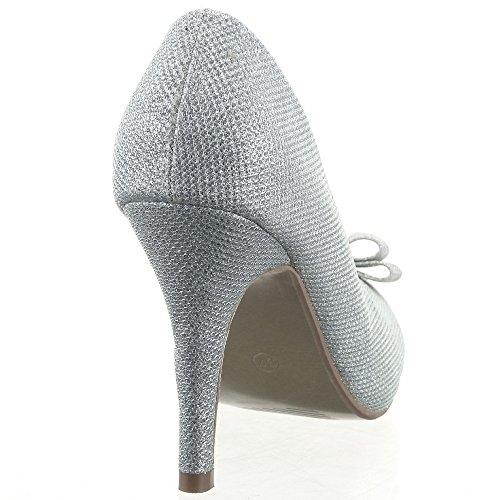 Sopily - Chaussure Mode Escarpin Decolleté Stiletto Decolleté Soirée Cheville femmes Brillant flashy nœud Talon aiguille haut talon 10 CM - Argent