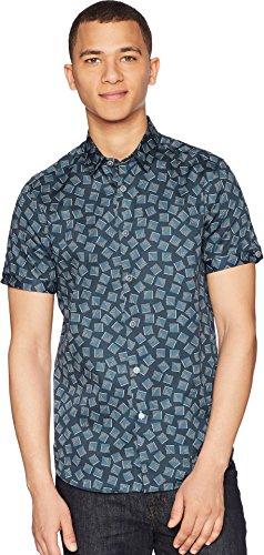 Ted Baker Men's Tern Short Sleeve Square Geo Print Shirt Navy 6