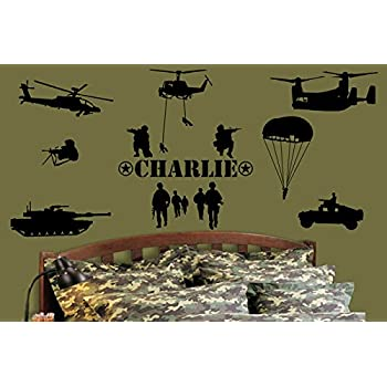 Custom made personalised name army marines military soldiers vinyl wall art stickers kid decor mural