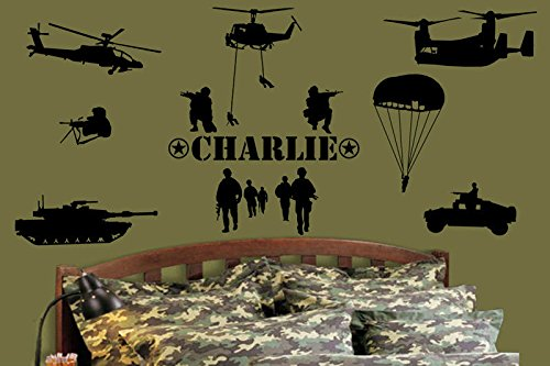 Cheap  Custom-made Personalised Name Army Marines Military Soldiers Vinyl Wall Art Stickers Kid..