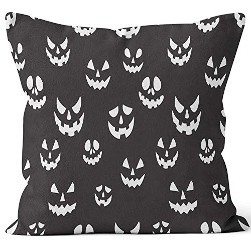 Nine City Halloween Seamless Pattern Pumpkin Vector Ghost Scarf Isolated Tile Repeat Wallpaper Black Sack Burlap Pillow,HD Printing Square Pillow case,36