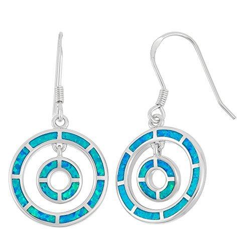 Sterling Silver Created Blue Opal Double Circle Dangle Earrings by Beaux Bijoux