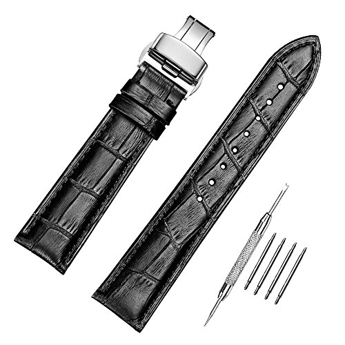 - Genuine Calfskin Leather Watch Band Interchangeable Watch Strap Quick Release Deployment Buckle with Spring Bar and Spring Bars Bonus 18mm/19mm/20mm/21mm/22mm/24mm