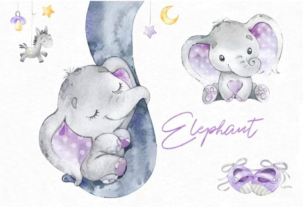 10x8ft Cartoon Cute Purple Calf Elephant Sleeping On Big Nose Backdrop Vinyl Girl Baby Shower Photography Background Child Baby Bday Party Banner Cake Smash Girl 1st Birthday Photo Shoot
