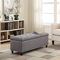 "Belleze 48"" Rectangular Gray Storage Fabric Ottoman Bench Tufted Footrest Lift Top"