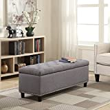 Belleze 48'' Rectangular Gray Storage Fabric Ottoman Bench Tufted Footrest Lift Top