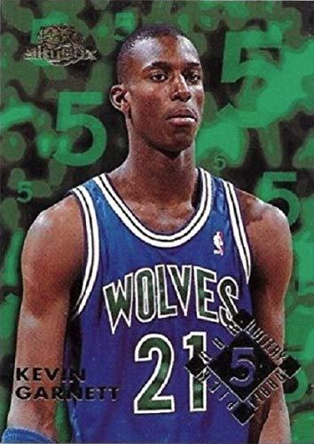 Draft Kevin Garnett - 1995-96 Skybox Premium Lottery Exchange Draft Pick - Kevin Garnett - BLUE Parallel - Minnesota Timberwolves Rookie NBA Basketball Card RC #5