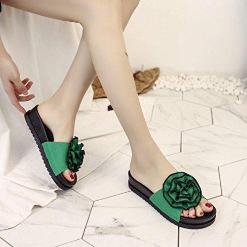 Jamicy® Damen Zehentrenner, Sommer-Art- und Weiseblumenstrand-Zufällige Flache Lederne Pantoffel-Schuhe Grün