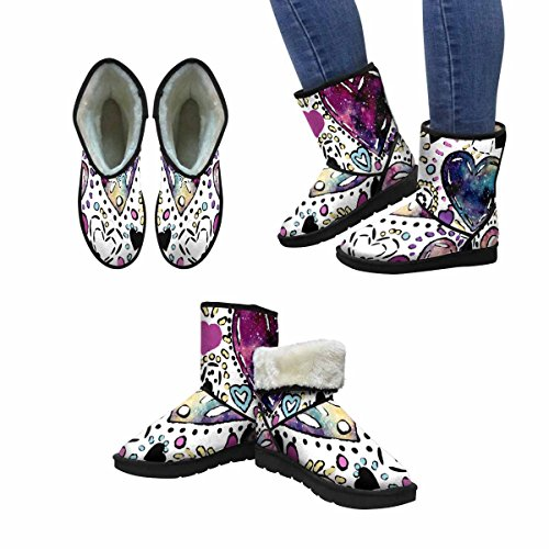 InterestPrint Womens Snow Boots Of Watercolor Dots, Black and colorful hearts Unique Designed Comfort Winter Boots Multi 1