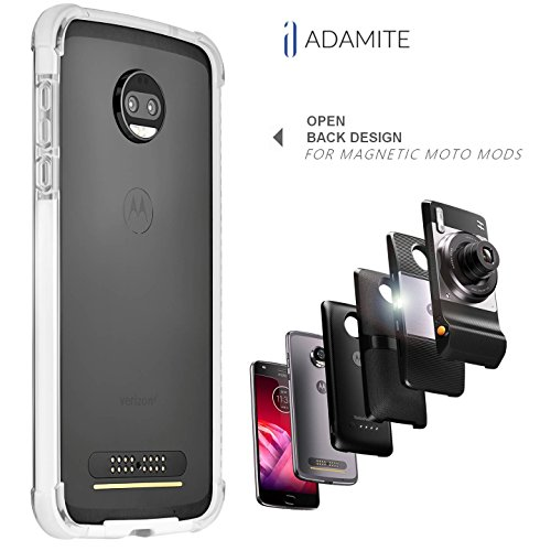 Moto Z2 Force Case Bumper White/Clear Compatible with Moto Mods (Ademite) (Does Not Fit Moto Z2 Play, Moto Z Play, Moto Z 2016 and Moto Zforce 2016