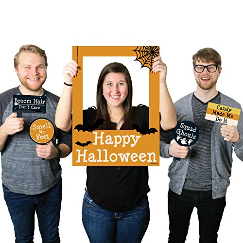 Happy Halloween - Halloween Photo Booth Picture Frame & Props - Printed on Sturdy Plastic Material