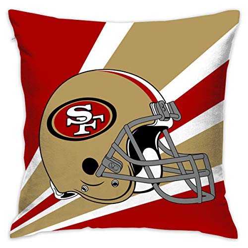 lowcase Colorful San Francisco 49ers American Football Team Bedding Pillow Covers Pillow Cases for Sofa Bedroom Bedding Car Home Decorative - 18x18 Inches ()
