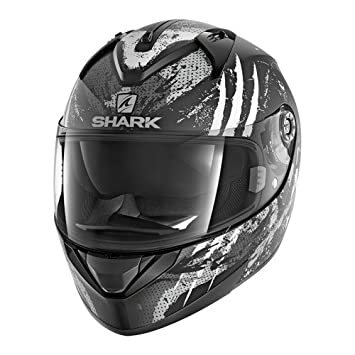 Shark Moto Casco Hark – ridill threezy Mat, Negro/Blanco, tamaño L