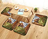 Leighhome Simple Modern Chair Cushions Utah Plateau Mojave Desert Southwest Erosion Navajo Artprint Brown Green Reusable Water wash W27.5 x L27.5/4PCS Set