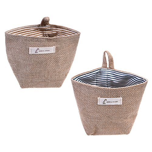 COSMOS 2 Pcs Mini Hanging Storage Bag Cotton Linen Small Storage Basket Decor Bin Bag for Wall Door (Hanging Storage Bins)