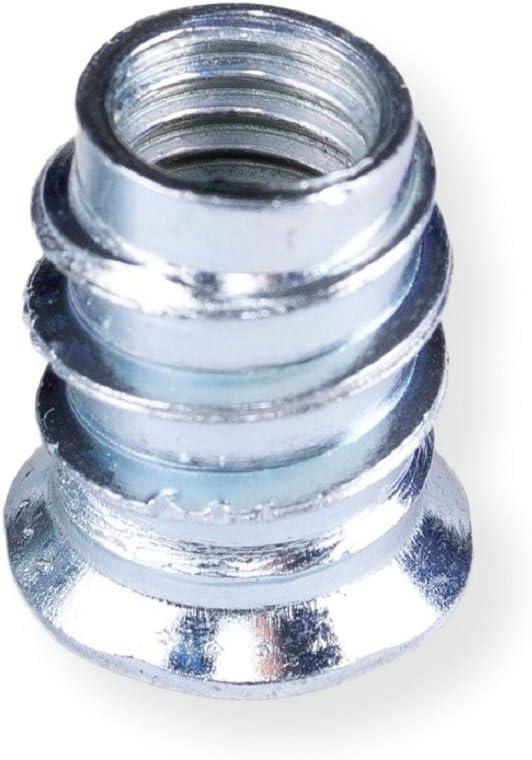M6X12 mm 100 x PACK Einschraubmuttern M6x12 mit ISK 6 mm Einschraubmuffen aus verzinktem Stahl mit Innensechskant