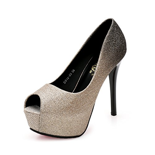 shoes 34 mouth new fish female pink single heels ZCH high party shoes heels female high gold ultra shoes exquisite nightclub UpWfx1