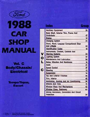 (bishko automotive literature 1988 Ford Tempo Topaz Shop Service Repair Manual Book Engine Electrical OEM)