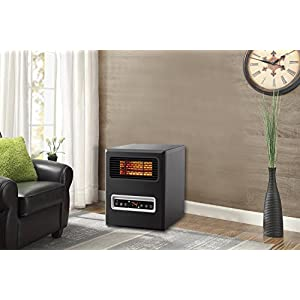 Mainstays, 4 Element, Infrared Electric Cabinet Space Heater, Black